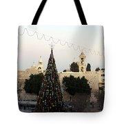 Christmas Tree In Manger Square Bethlehem Tote Bag
