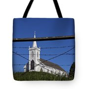 Church And Barbed Wire Tote Bag