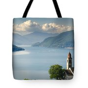 Church Close To An Alpine Lake Tote Bag