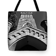 Church Facade In Black And White Tote Bag