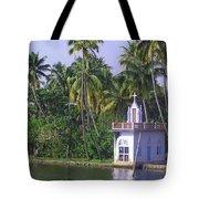 Church Located On A Coastal Lagoon In Kerala In India Tote Bag