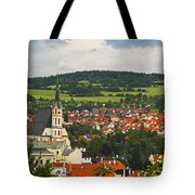 Church Spire In The Old Town Cesky Tote Bag