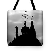 Church Spires Silhouetted Bw Tote Bag