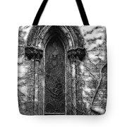 Church Window And Vines Bw Tote Bag