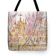 Church With Palm Trees Tote Bag