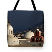 Churches In Fira Greece Tote Bag
