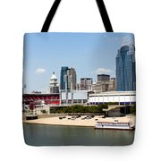 Cincinnati Ohio Skyline And Riverfront Tote Bag