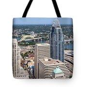 Cincinnati Panorama Aerial Skyline Downtown City Buildings Tote Bag by Paul Velgos