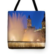 City Hall And Fountain At Dusk Tote Bag