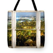 City Lights White Rustic Picture Window Frame Photo Art View Tote Bag
