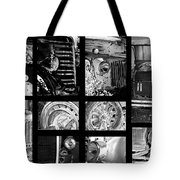 Classic Car Collage In Black And White Tote Bag