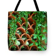 Clay Pattern Wall With Vines Tote Bag