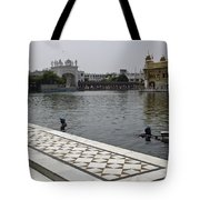 Clearing The Sarovar Inside The Golden Temple Resorvoir Tote Bag