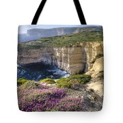 Cliffs Along Ocean With Wildflowers Tote Bag