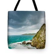 Cliffs Under Thunder Clouds And Turquoise Ocean Tote Bag