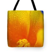 Close Up Of A Poppy With Dew On The Tote Bag