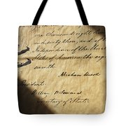 Close-up Of Emancipation Proclamation Tote Bag