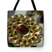 Close Up Of The Gold And Diamond Setting Of A Large Necklace Tote Bag