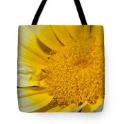 Close Up Of The Inside Of A Yellow And White Sun Flower Tote Bag