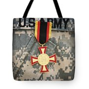 Close-up View Of A German Gold Cross Tote Bag