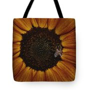 Close View Of A Bee On A Sunflower Tote Bag
