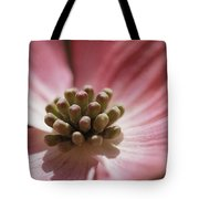 Close View Of A Pink Dogwood Blossom Tote Bag