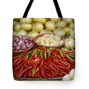 Close View Of Chili Peppers And Other Tote Bag