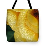 Close View Of Dew On Olympic Gold Rose Tote Bag