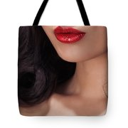 Closeup Of Woman Red Lips Tote Bag