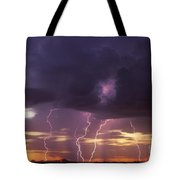 Cloud To Ground Lightning At Sunset Tote Bag