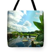 Cloudy Reflections And Lily Pad Companions  Tote Bag