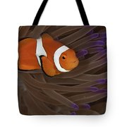 Clownfish In Purple Tip Anemone Tote Bag