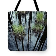 Clumps Of Grass In Water Reflecting Tote Bag