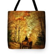 Coach On A Road In Autumn Tote Bag