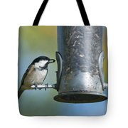 Coal Tit On Feeder Tote Bag