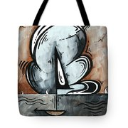 Coastal Art Contemporary Sailboat Painting Whimsical Design Afternoon Breeze By Madart Tote Bag