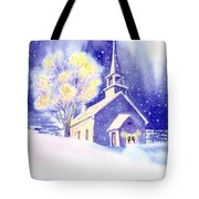 Coastal Church Christmas Tote Bag