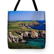 Coastal Cliffs And Seascape With Boat Tote Bag