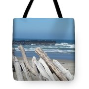 Coastal Driftwood Art Prints Blue Sky Ocean Waves Tote Bag by Baslee Troutman