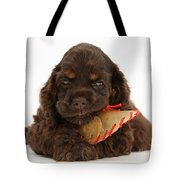 Cocker Spaniel Pup With Chew Treat Tote Bag