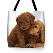 Cocker Spaniel Puppy And Goldendoodle Tote Bag
