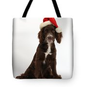 Cocker Spaniel With Santa Hat Tote Bag