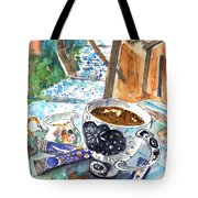 Coffee Break In Elos In Crete Tote Bag