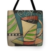Coffee Cup With Leaves Tote Bag