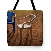 Coffee Cups Along With Chairs And Tables In A Quiet Location At Sunset Tote Bag