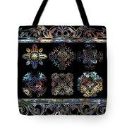 Coffee Flowers Ornate Medallions 6 Piece Collage Aurora Borealis Tote Bag