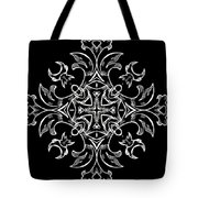 Coffee Flowers Ornate Medallions Bw Vertical Tryptych 1 Tote Bag