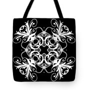 Coffee Flowers Ornate Medallions Bw Vertical Tryptych 2 Tote Bag