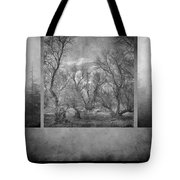 Collage Misty Trees Tote Bag