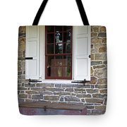 Colonial Shutters Window Frame Stone Wall Wood Box Tote Bag